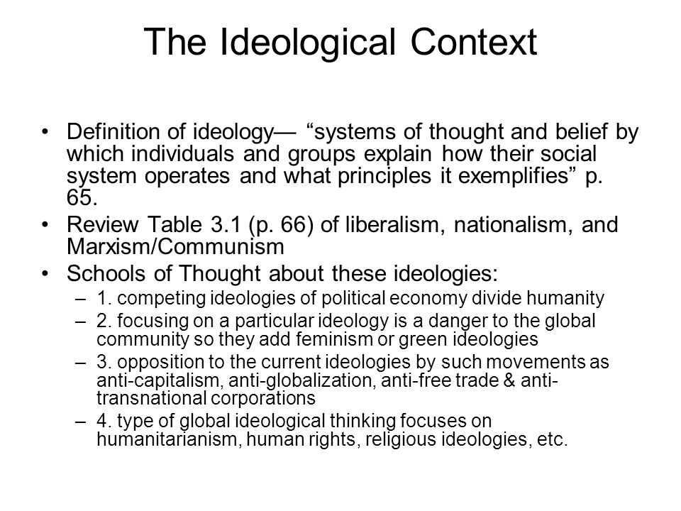 The Ideological Context