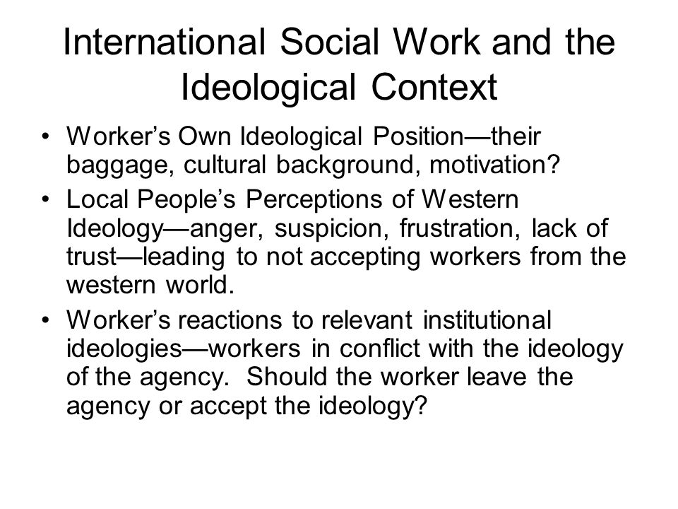 International Social Work and the Ideological Context