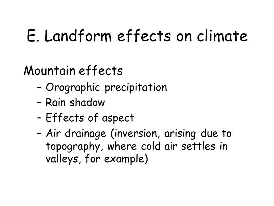 E. Landform effects on climate