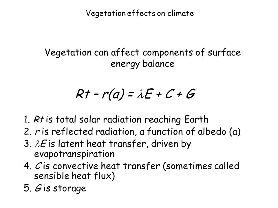 Vegetation effects on climate