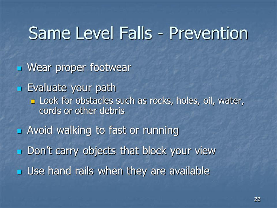 Same Level Falls - Prevention