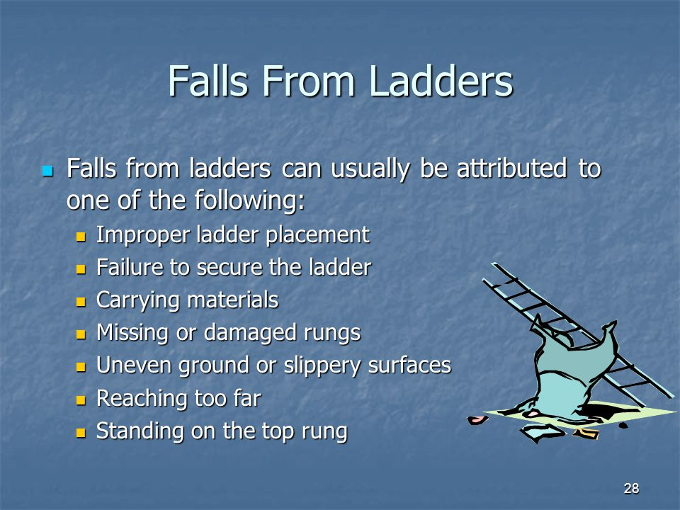 Falls From Ladders Falls from ladders can usually be attributed to one of the following: Improper ladder placement.