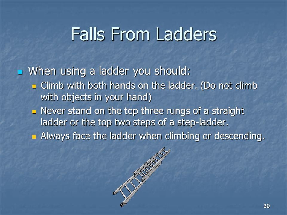 Falls From Ladders When using a ladder you should: