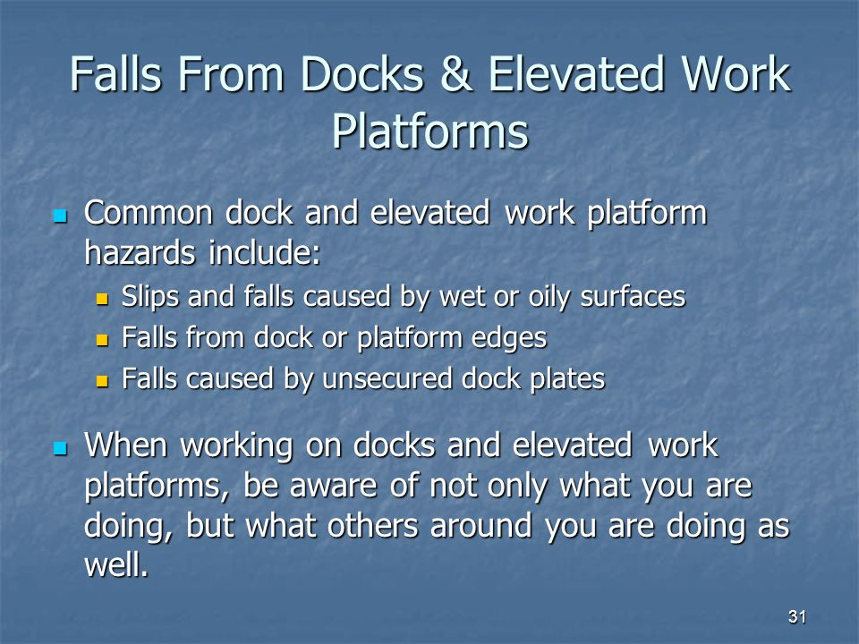 Falls From Docks & Elevated Work Platforms