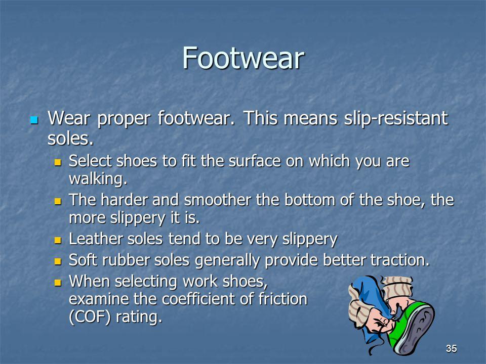 Footwear Wear proper footwear. This means slip-resistant soles.