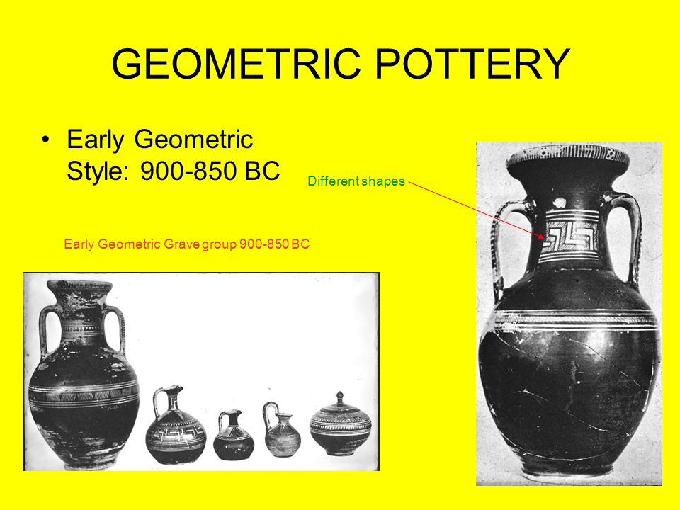 GEOMETRIC POTTERY Early Geometric Style: 900-850 BC Different shapes