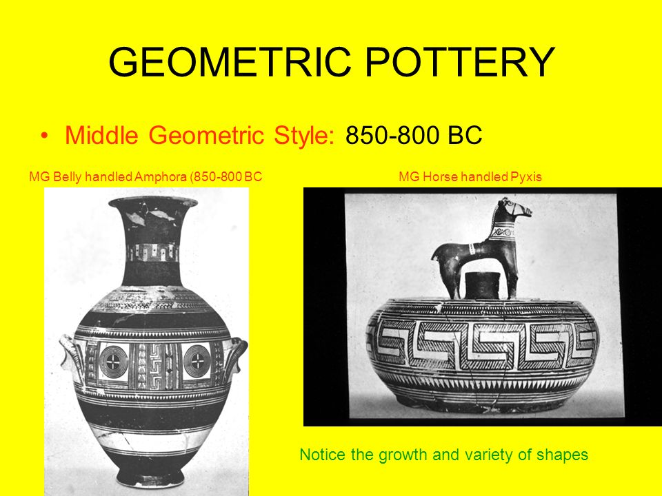 GEOMETRIC POTTERY Middle Geometric Style: 850-800 BC