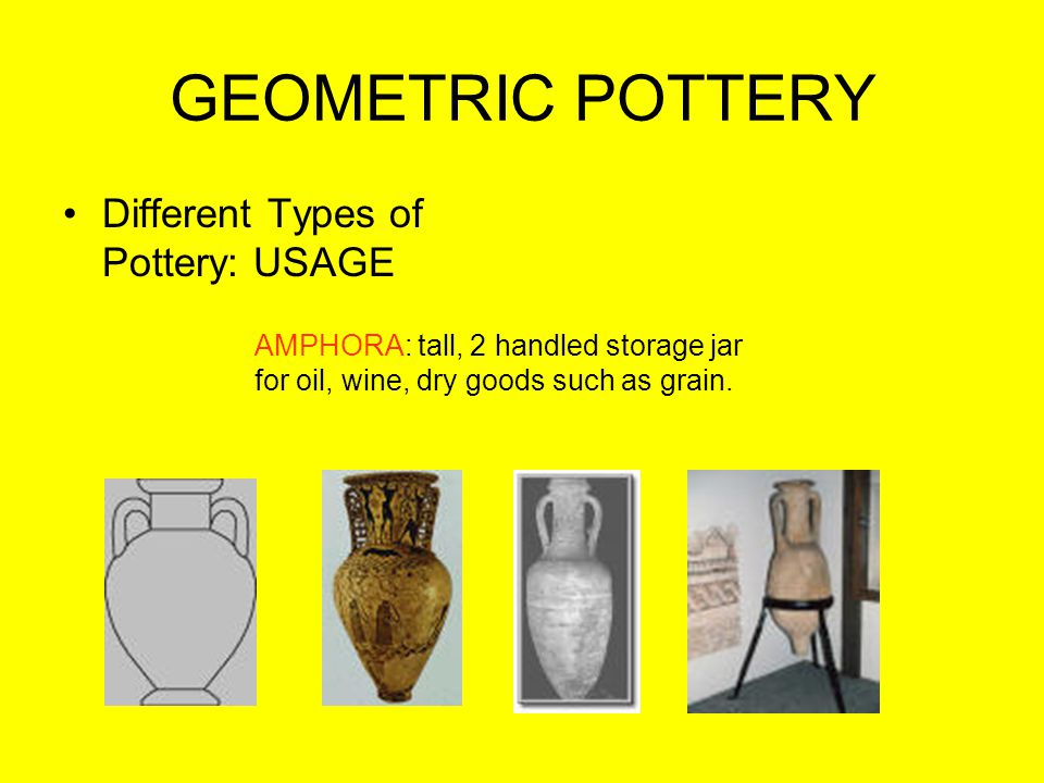 GEOMETRIC POTTERY Different Types of Pottery: USAGE