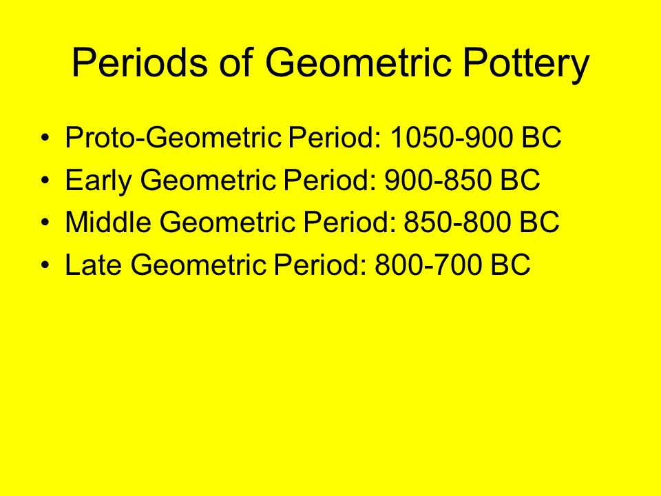Periods of Geometric Pottery