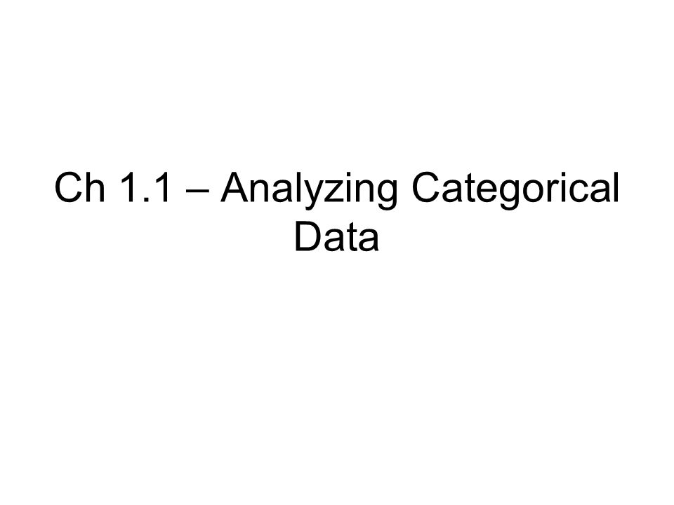 Ch 1.1 – Analyzing Categorical Data