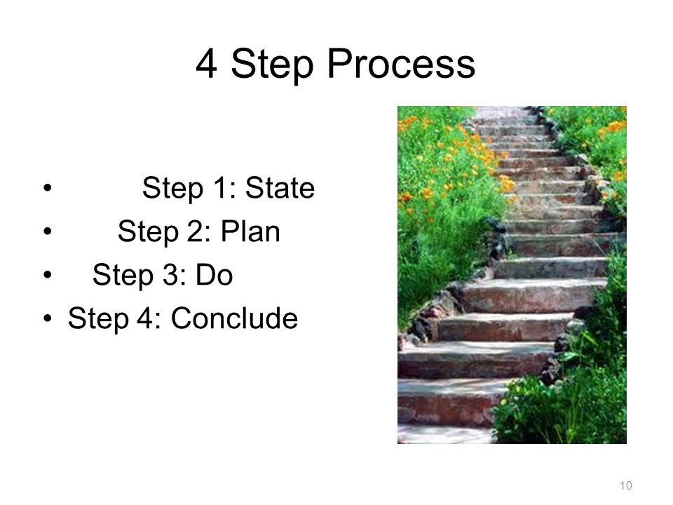 4 Step Process Step 1: State Step 2: Plan Step 3: Do Step 4: Conclude