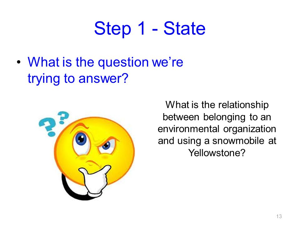 Step 1 - State What is the question we're trying to answer