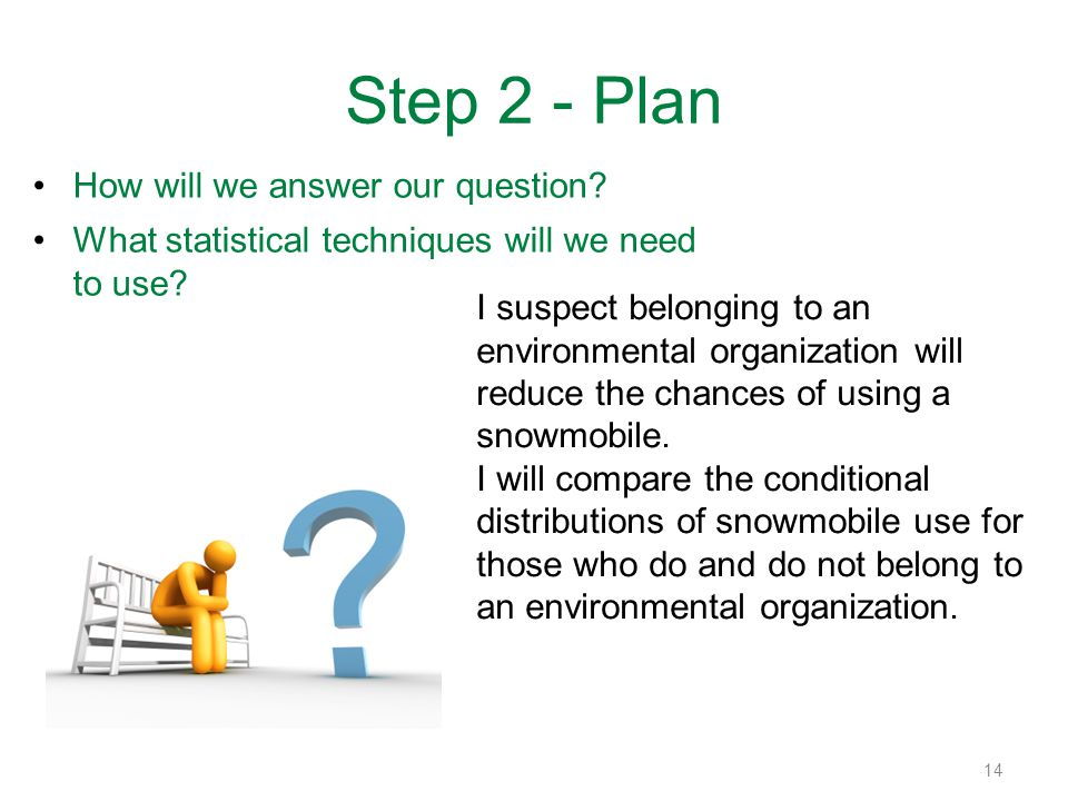 Step 2 - Plan How will we answer our question