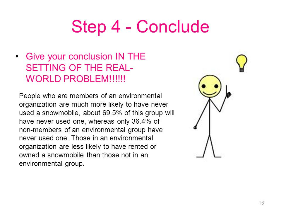 Step 4 - Conclude Give your conclusion IN THE SETTING OF THE REAL- WORLD PROBLEM!!!!!!