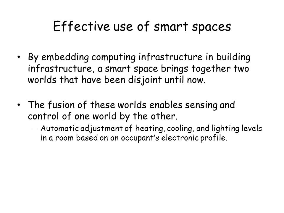 Effective use of smart spaces