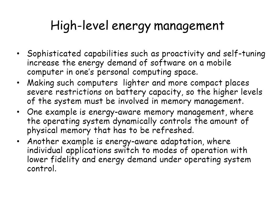 High-level energy management