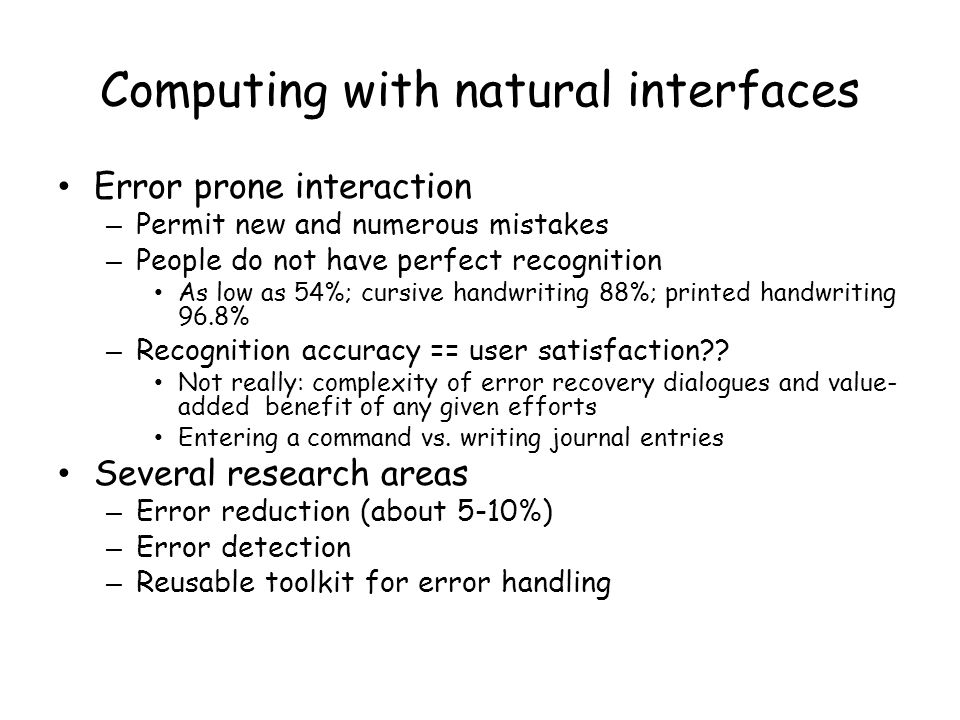 Computing with natural interfaces