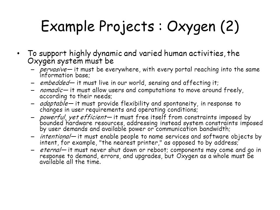 Example Projects : Oxygen (2)