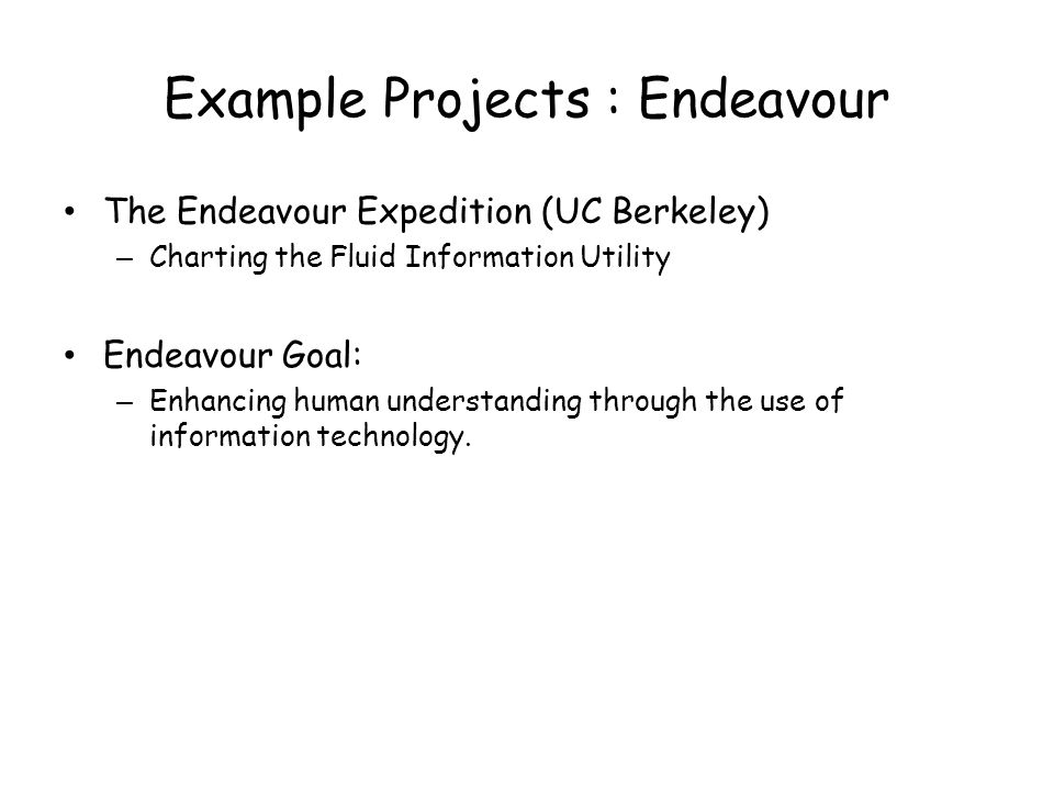 Example Projects : Endeavour