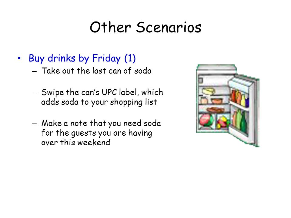 Other Scenarios Buy drinks by Friday (1) Take out the last can of soda