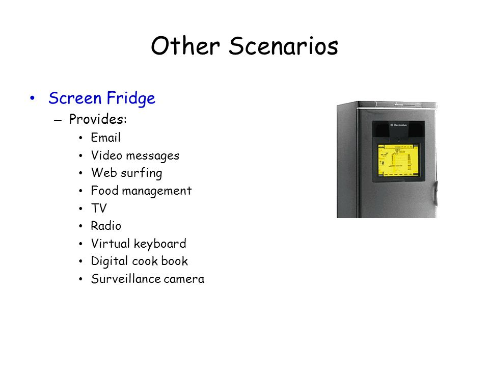 Other Scenarios Screen Fridge Provides: Email Video messages