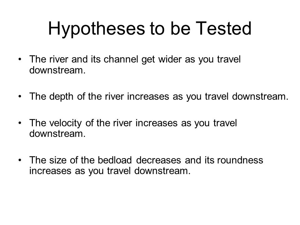Hypotheses to be Tested