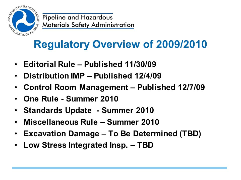Regulatory Overview of 2009/2010