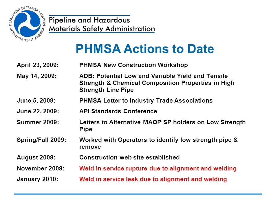 PHMSA Actions to Date April 23, 2009: PHMSA New Construction Workshop