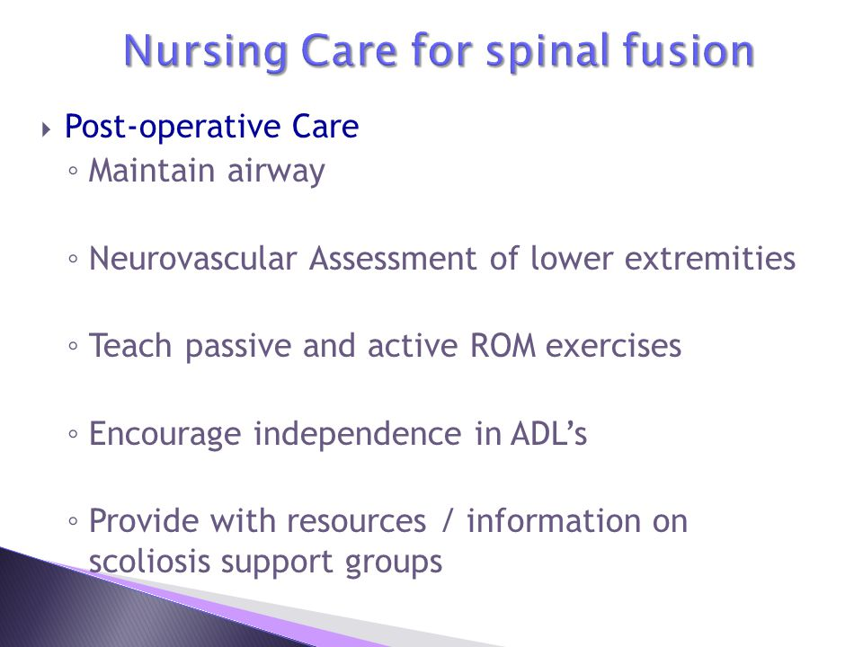 Nursing Care for spinal fusion