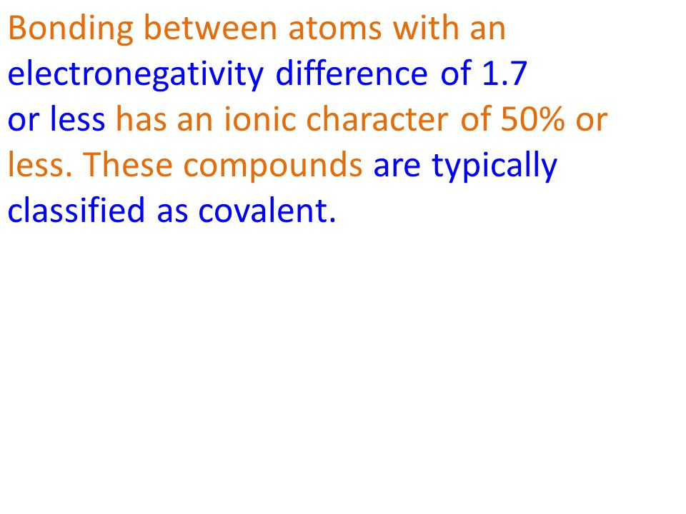 Bonding between atoms with an electronegativity difference of 1.7