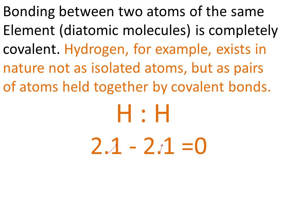 H : H 2.1 - 2.1 =0 Bonding between two atoms of the same