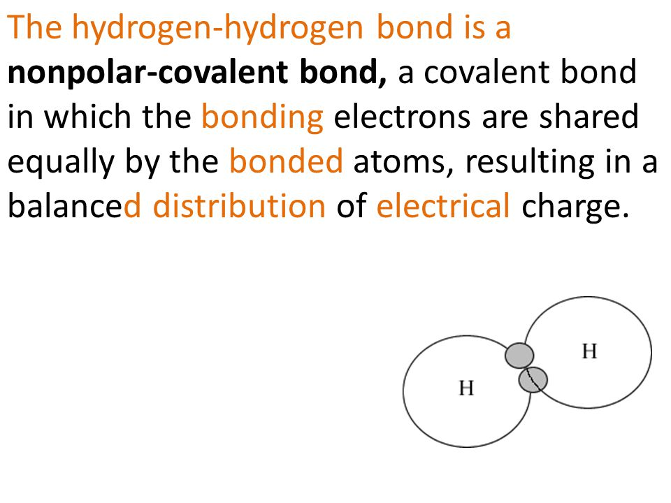 The hydrogen-hydrogen bond is a nonpolar-covalent bond, a covalent bond in which the bonding electrons are shared equally by the bonded atoms, resulting in a balanced distribution of electrical charge.