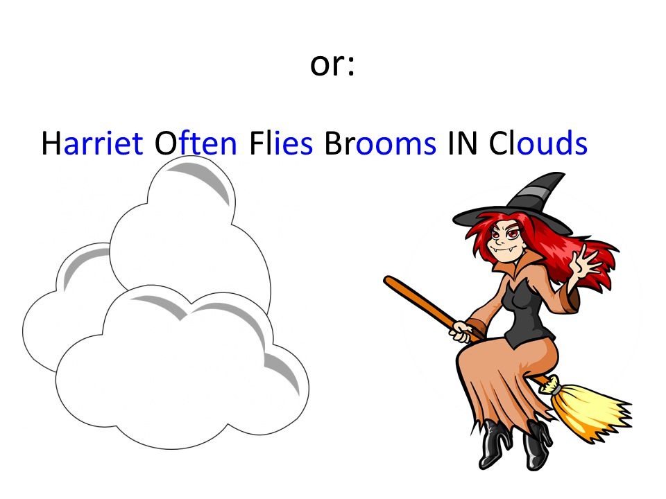 or: Harriet Often Flies Brooms IN Clouds