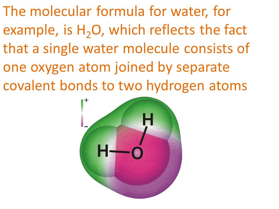 The molecular formula for water, for example, is H2O, which reflects the fact