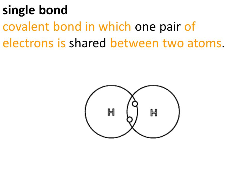 single bond covalent bond in which one pair of electrons is shared between two atoms.