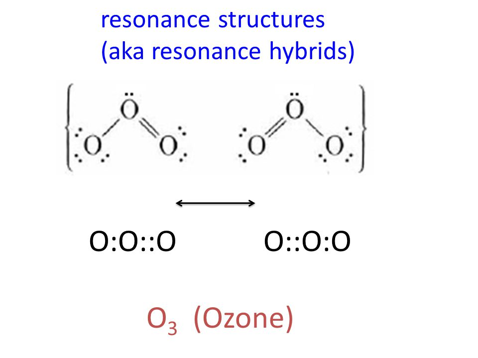 resonance structures (aka resonance hybrids) O:O::O O::O:O O3 (Ozone)