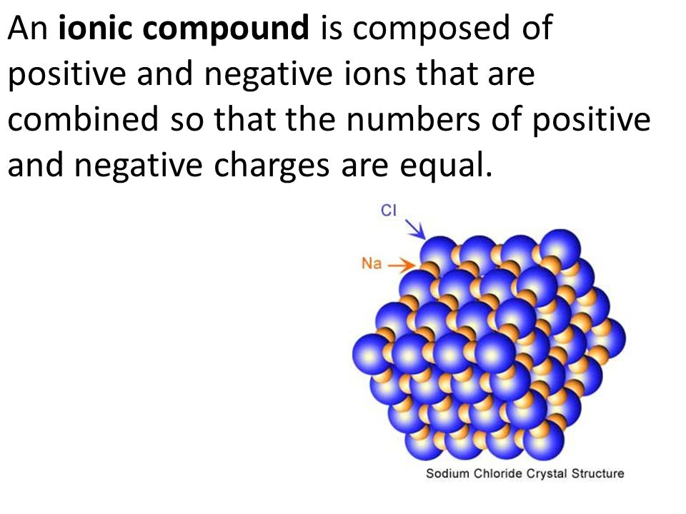 An ionic compound is composed of positive and negative ions that are combined so that the numbers of positive and negative charges are equal.