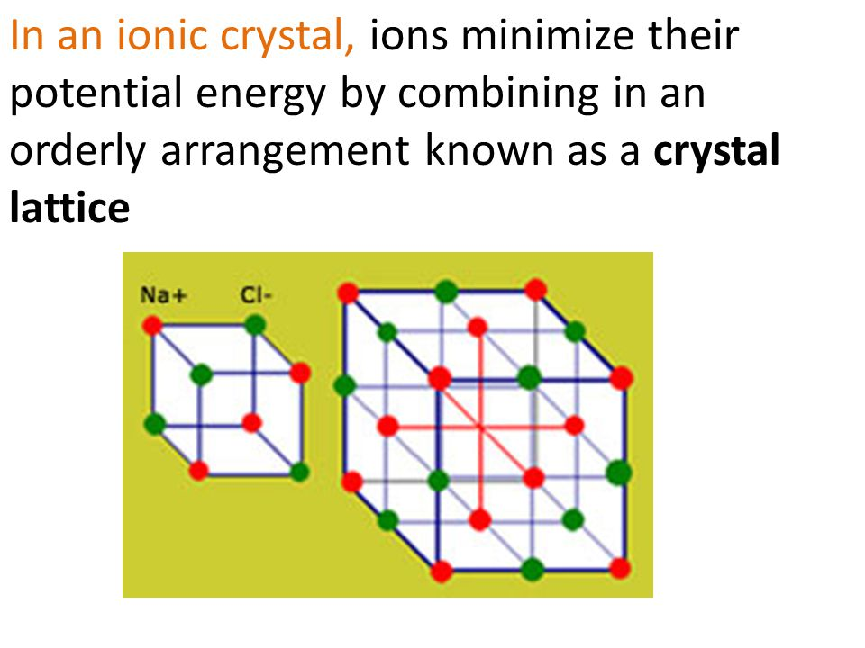 In an ionic crystal, ions minimize their potential energy by combining in an orderly arrangement known as a crystal lattice