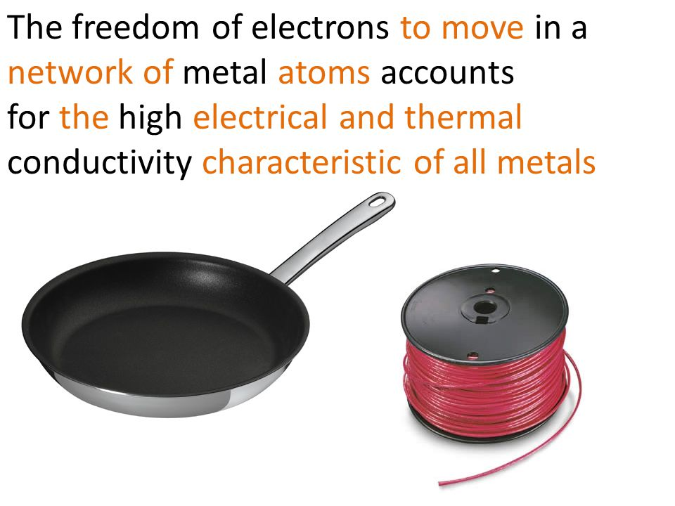 The freedom of electrons to move in a network of metal atoms accounts