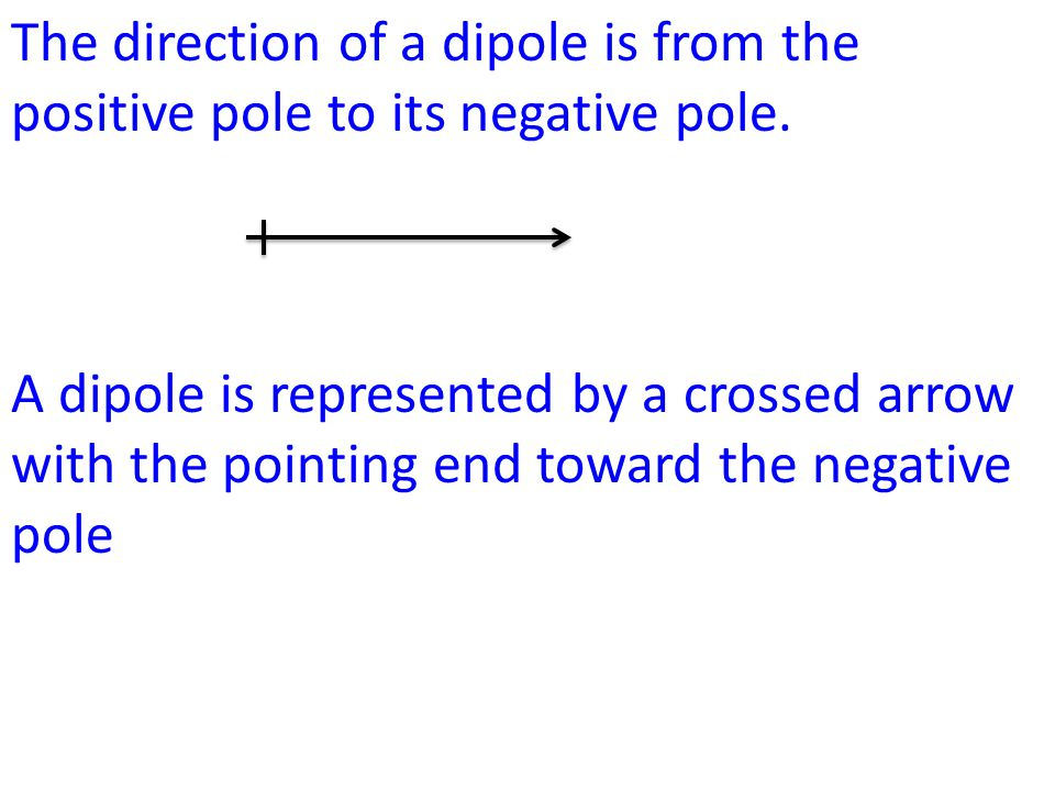 The direction of a dipole is from the positive pole to its negative pole.