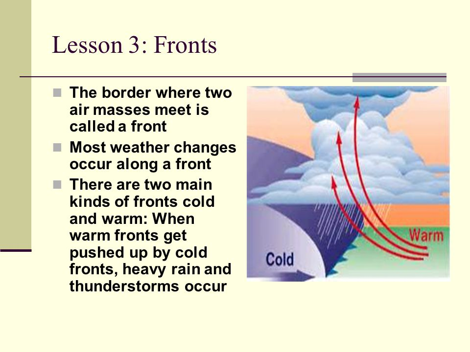 Lesson 3: Fronts The border where two air masses meet is called a front. Most weather changes occur along a front.