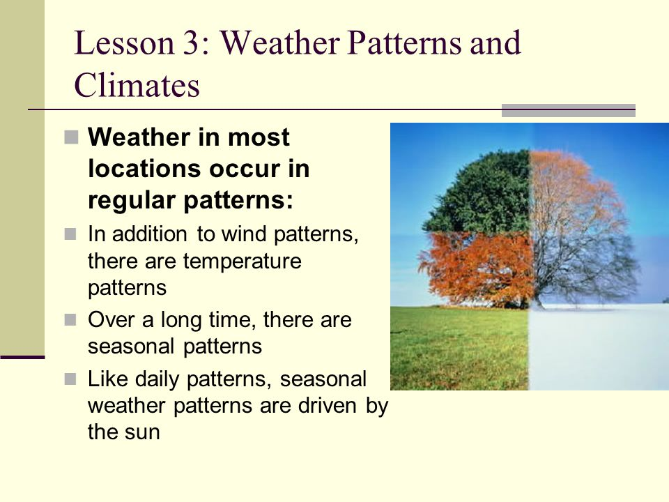 Lesson 3: Weather Patterns and Climates