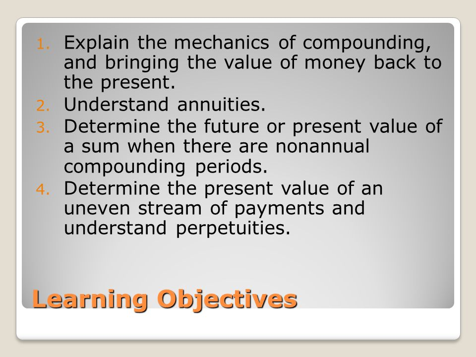 Explain the mechanics of compounding, and bringing the value of money back to the present.