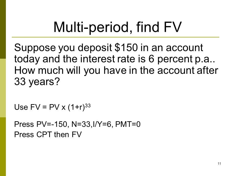 Multi-period, find FV