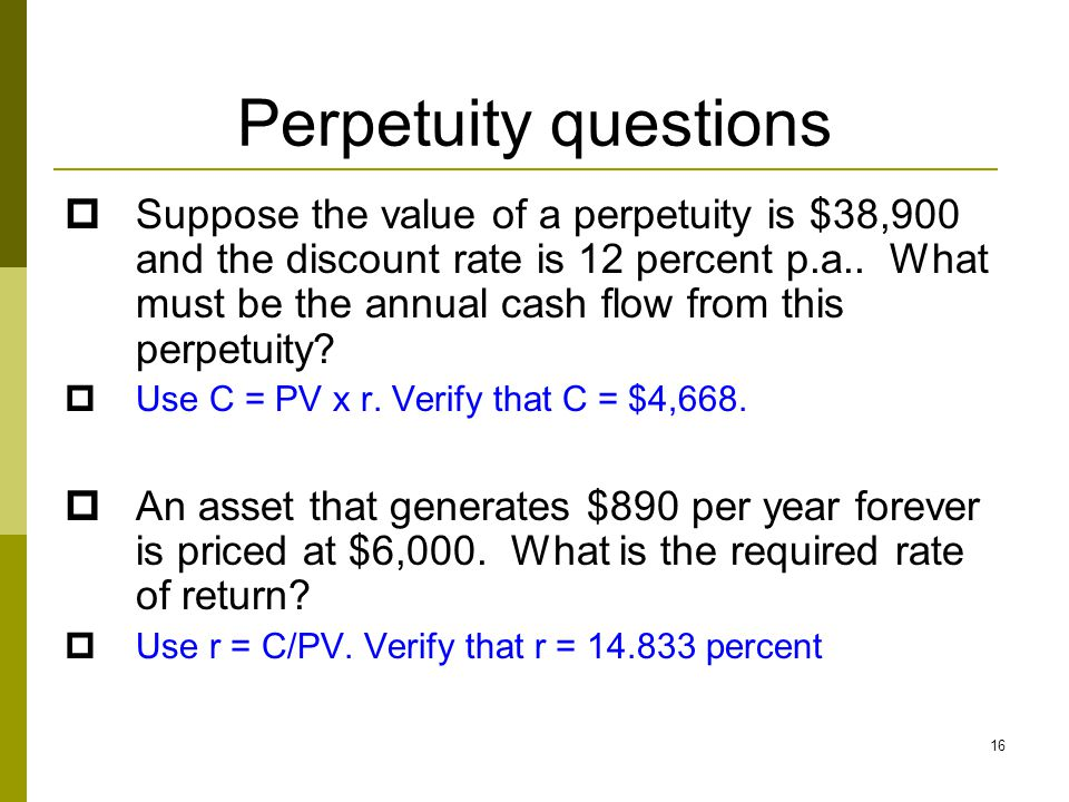 Perpetuity questions