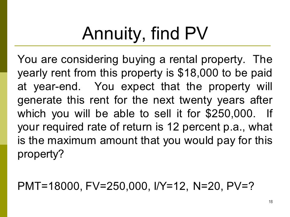Annuity, find PV