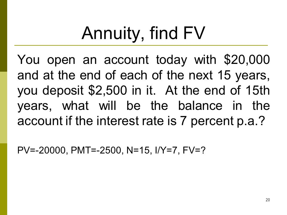 Annuity, find FV