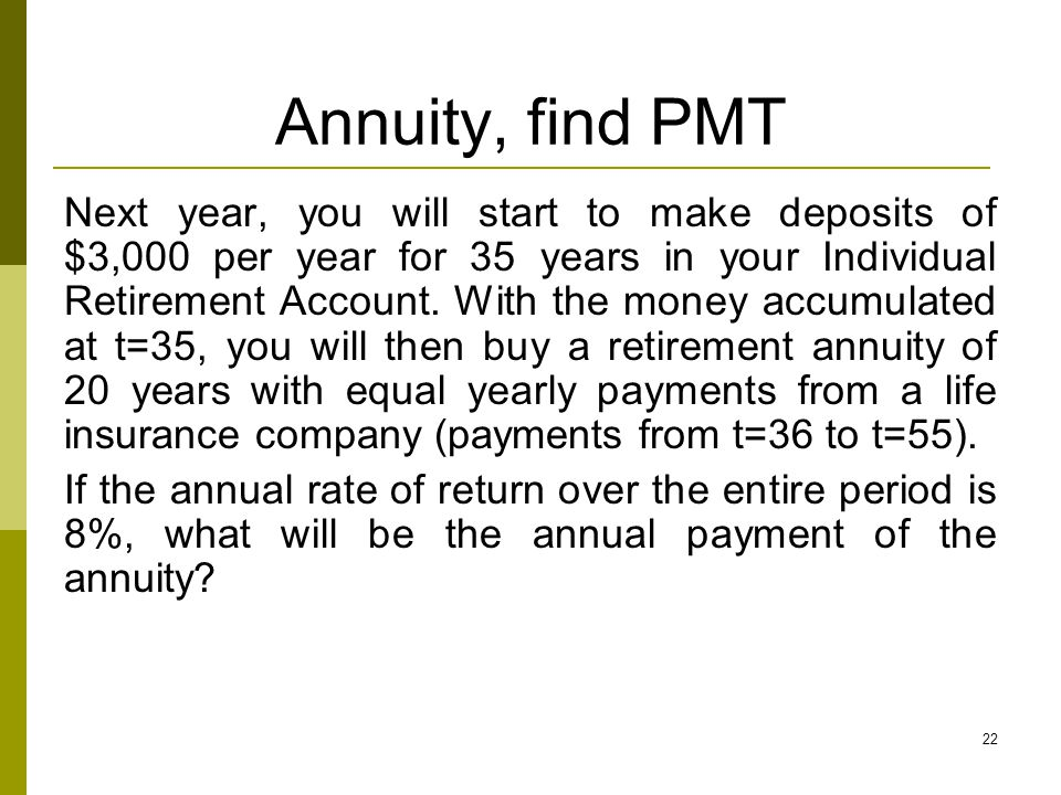 Annuity, find PMT