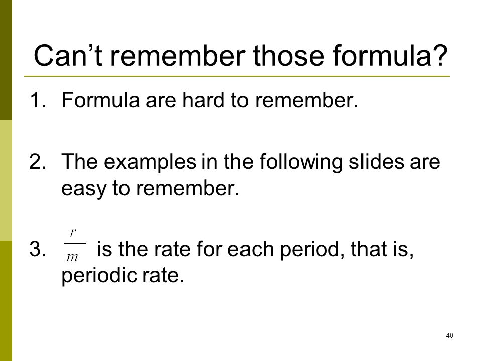 Can't remember those formula