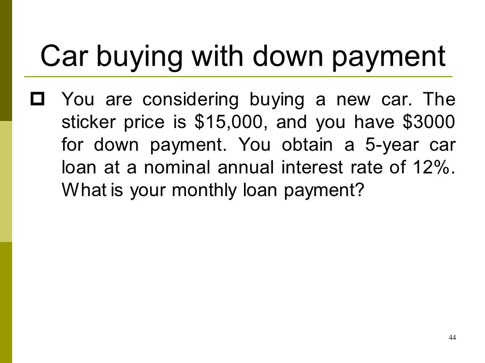 Car buying with down payment